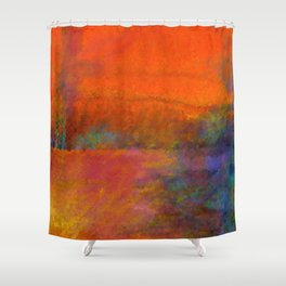 Orange Study #1 Digital Painting Shower Curtain