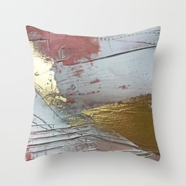 Darling [2]: a minimal, abstract mixed-media piece in pink, white, and gold by Alyssa Hamilton Art Throw Pillow