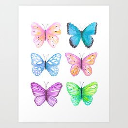 Vibrant butterflies watercolor Art Print
