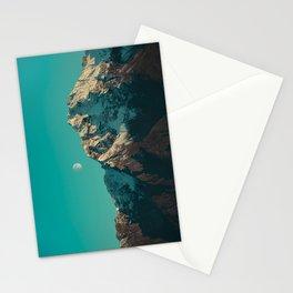 Moon Over Pioneer Peak in Turquoise - Alaska Stationery Cards