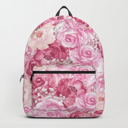 Hand painted white blush pink  coral floral Backpack
