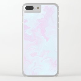 Abstract teal magenta pink watercolor marble pattern Clear iPhone Case
