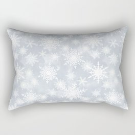 Snowflakes . White Lacy snowflakes on a light grey Rectangular Pillow
