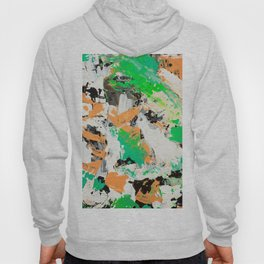 Tropical vibes black salmon white green neon abstract acrylic paint Hoody
