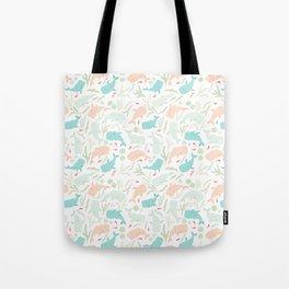 Pastel Whale Pattern Tote Bag
