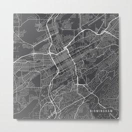 Birmingham Map, USA - Gray Metal Print