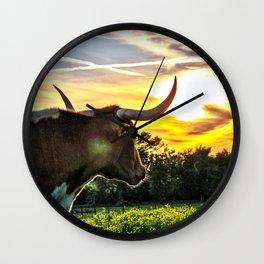 Illuminated Longhorn Sunset Wall Clock