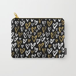 Black White and Gold Hearts Carry-All Pouch