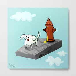 Dog in the sky peeing - Illustration Metal Print