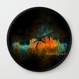 Frankfurt am Main, City Cityscape Skyline watercolor art v4 Wall Clock