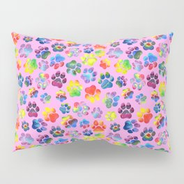 Pink and Rainbow Pawprint Pattern Pillow Sham