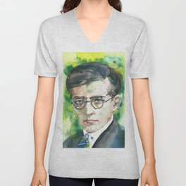 DMITRI SHOSTAKOVIC - watercolor portrait.1 Unisex V-Neck