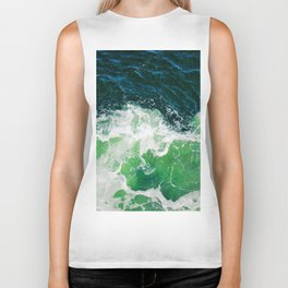 Green Ocean Waves Biker Tank