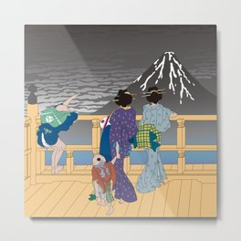 Hokusai People Seeing Mt. Fuji in the Rainy Sky Metal Print