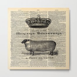 french dictionary print jubilee crown western country farm animal sheep Metal Print