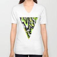 neon V-neck T-shirts featuring Neon by Marta Olga Klara