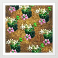 Pink and Green Flowers Pattern Art Print
