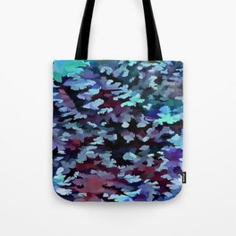 Foliage Abstract Camouflage In Aqua Blue and Black Tote Bag