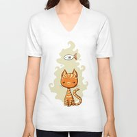 ginger V-neck T-shirts featuring Ginger Cat by Freeminds