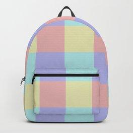 Plaid Blue Soft Yellow Rose Blush Lavender Cyan Tetradic Colour Blocks Backpack
