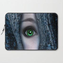 Big green eye in a blue tree Laptop Sleeve