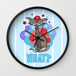 Cool Cat in a Red Hat Wall Clock