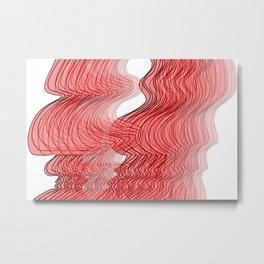 Multiplied Parallel Waves Lines in Red No.: 02 Metal Print