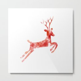 Red Painted Deer Metal Print