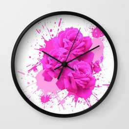 CERISE PINK ROSE PATTERN WATERCOLOR SPLATTER Wall Clock