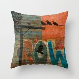 Crow train Throw Pillow