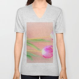 two pink tulips Unisex V-Neck