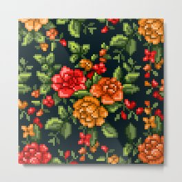 Pixel Floral - Red on Black Metal Print