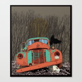 Rusted old truck, wolf skull, raven. Canvas Print