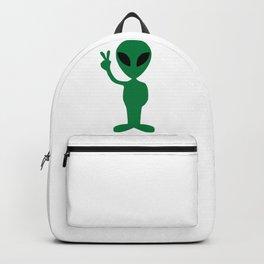 Green Alien Peace Backpack