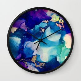 Athena Alcohol Ink and Reactive Foil Artwork Wall Clock