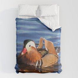 Beautiful Mandarin Duck at the Lake Comforters