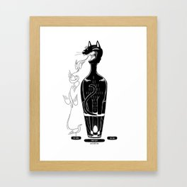 The cat in the bottle Framed Art Print