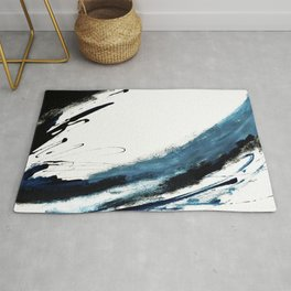 Reykjavik: a pretty and minimal mixed media piece in black, white, and blue Rug