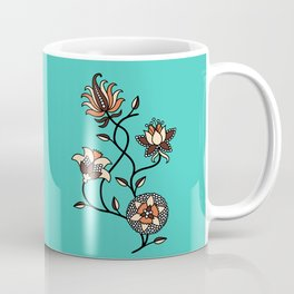 Whimsical illustrated Indian floral neon teal Coffee Mug