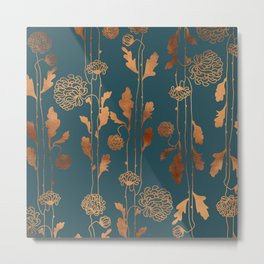 Art Deco Copper Flowers Metal Print