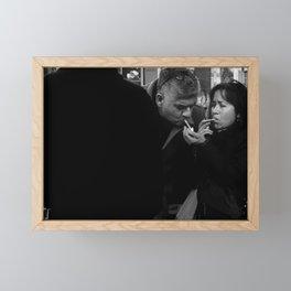 Woman Lighting a Cigarette to a Man Framed Mini Art Print