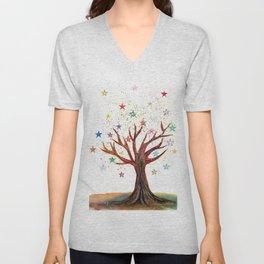 Star Tree Illustration Art Unisex V-Neck