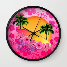 Surfer Girl Pink Tropical Flowers Wall Clock