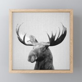Moose - Black & White Framed Mini Art Print