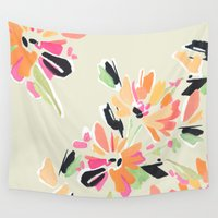 mod Wall Tapestries featuring Mod Floral by Makewells