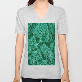 Green With Envy Layered Leaf Textures Unisex V-Neck