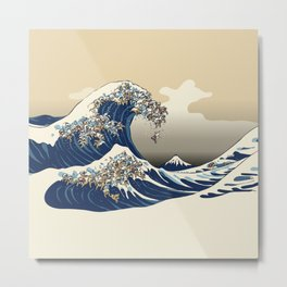 The great wave of english bulldog Vanilla Sky Metal Print