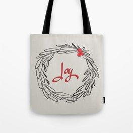 Joy Wreath - Gray Tote Bag