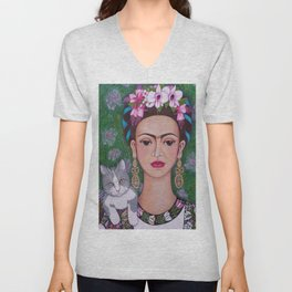 Frida cat lover closer Unisex V-Neck