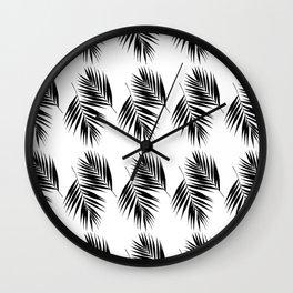 Palm Leaves Pattern #12 #Black #White #decor #art #society6 Wall Clock